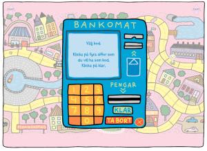 En webbplats om pengar. När du sparat ihop pengar, kan du ta ut dem i bankomaten.