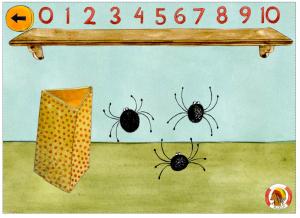 Hur många spindlar finns det i burken? Klicka på rätt siffra.